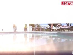 Scam Angels - Jewelz Blu And Emily Willis Hot Ass German Teen And Her BFF Fuck Lucky Guy By The Pool