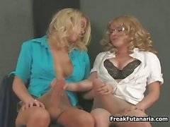 Hot blonde babes go crazy jerking