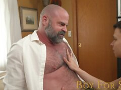 BoyForSale Older muscle bear makes young twink take his big dick raw