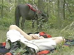 horny wife in forest threesome