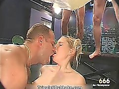 Sexy blonde whore gets p1ssed hard