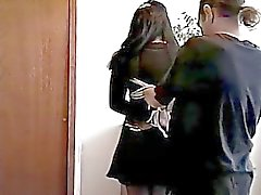 Dark?haired gal, bound and spanked by her master