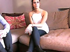 FakeAgentUK Swinging fit couple threesome on casting couch
