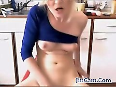 Blonde MILF fucks anal with toys and masturbates in kitchen live webcam