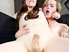 Young tgirl pounded by tattooed shemale
