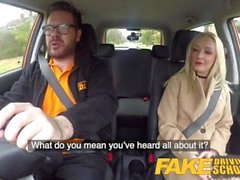 'Fake Driving School Blonde sister Loves A real Backseat rough fuck cum on face'