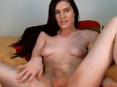 Flexible Tgirl Plays her Nice Clean Shaved Cock