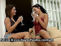 Britney and Billy stunning lesbo brunettes kissing and teasing