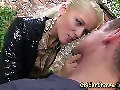 Slut pisses on cock while fucking it