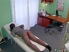 Redhead in pantyhose fucked by doctor