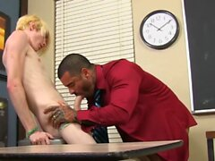 Blonde Preston Andrews riding muscle teacher before facial