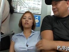 Sexy lady cop sucks off some slutty stranger in public